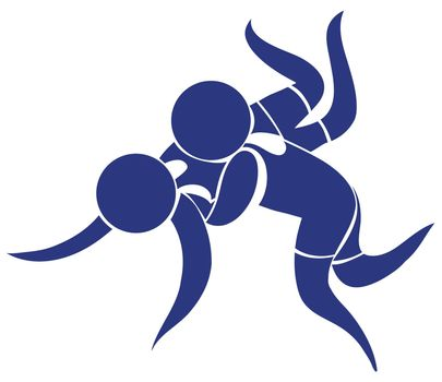 Sport icon design for wrestling in blue