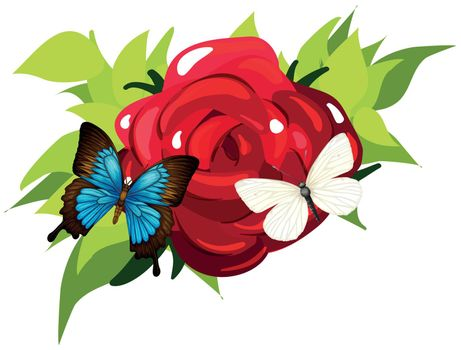 Butterflies flying around the rose