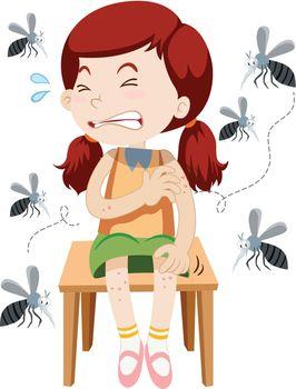 Girl being bitten by mosquitos
