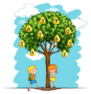 Children and pear tree with numbers