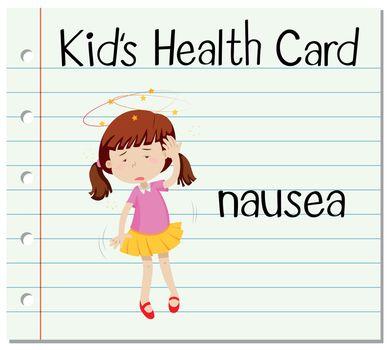 Health card with girl having nausea
