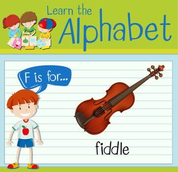 Flashcard letter F is for fiddle