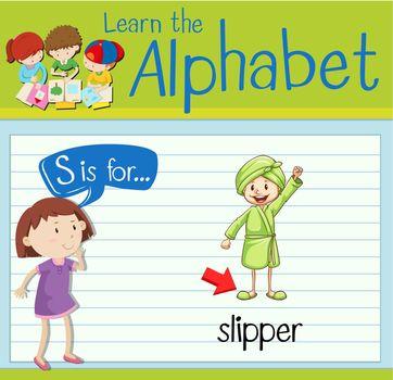 Flashcard letter S is for slipper
