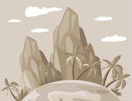 Island view in grayscale