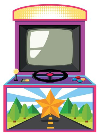 Arcade game box with screen and wheel