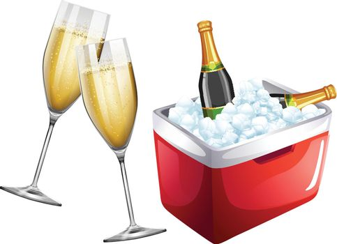 Champagne glasses and icebox