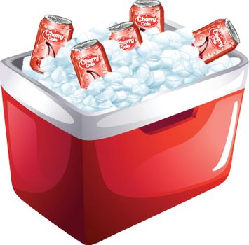 Cherry soda cans in ice box