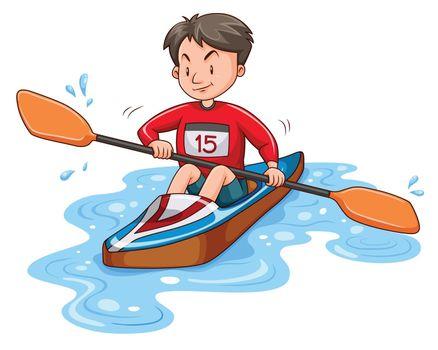 Man athlete canoeing on water