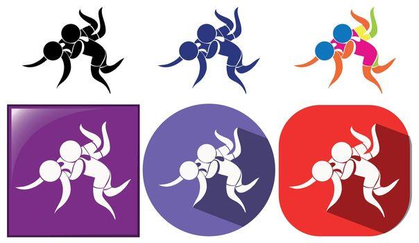 Different design icon for wrestling