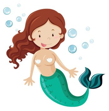 Mermaid with green fin