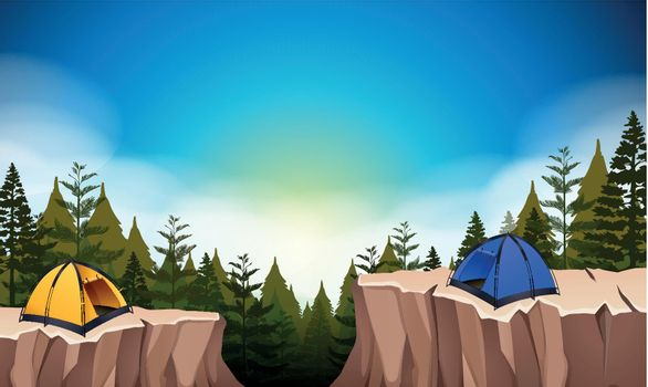 Camp site with two tents on the cliff