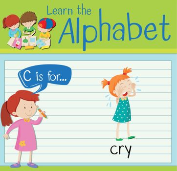 Flashcard letter C is for cry