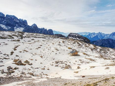 Panorama view of Dolomites Alpine peaks.  South Tyrol