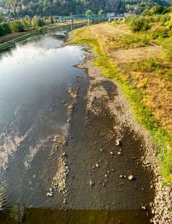 The big European river Elbe out of water due to extreme hot summer 2018. The result of human action