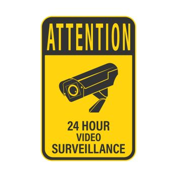 WARNING 24-hour video surveillance. WARNING 24-hour video surveillance. A sign, sign or sticker with a warning about round-the-clock video surveillance. Flat style.