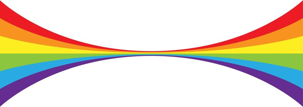 wide line narrows towards the center. Curly line in the colors of the LGBT flag for posters, banners and creative design. Simple Style