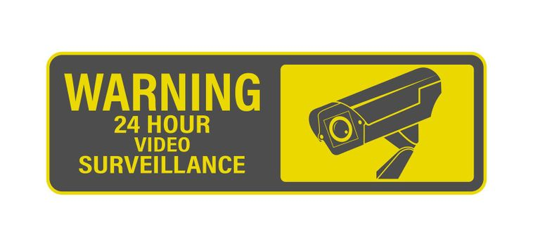 WARNING 24-hour video surveillance. A sign, sign or sticker with a warning about round-the-clock video surveillance. Flat style.