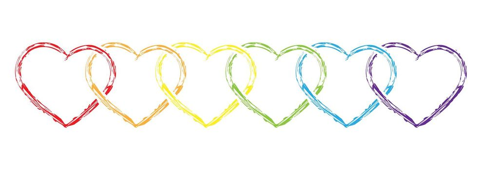 outline of intertwined hearts in LGBT colors. A heart drawn with a brush and colored paint. Stock vector illustration.