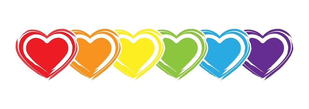 Hearts in LGBT colors are drawn with a brush and colored paint. Stock vector illustration.