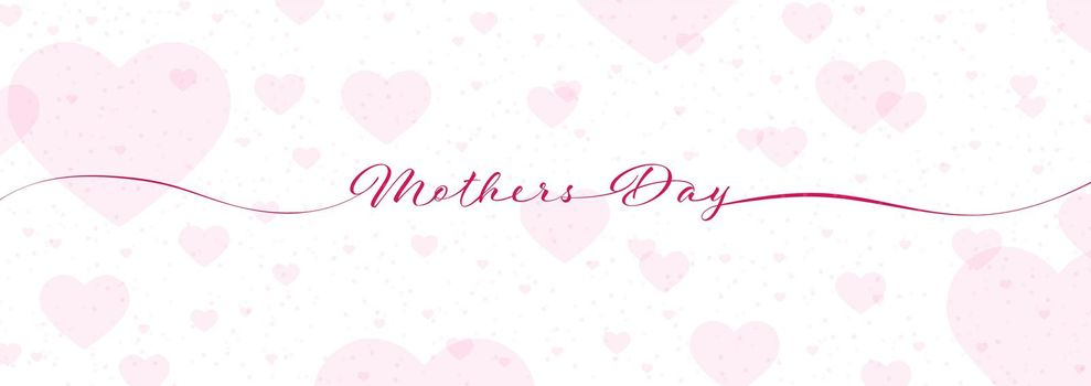 Mother's Day calligraphy lettering on white background with hearts for postcards, posters, invitations and creative design. Simple Style