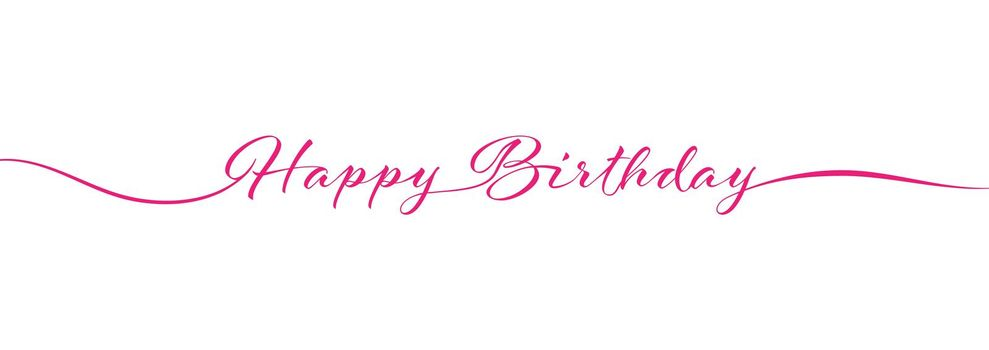 Calligraphy Happy BIRTHDAY lettering on white background for postcards, posters, invitations and creative design. Simple Style