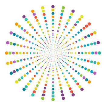 circle of multi-colored dots of different diameters for creative design. Simple Style