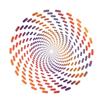 circle of multi-colored strokes of different sizes for creative design. Simple Style