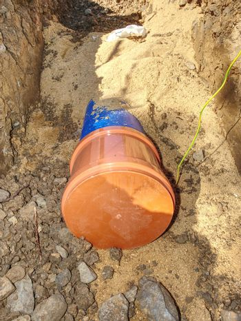 City construction of water supply pipeline with end cover.