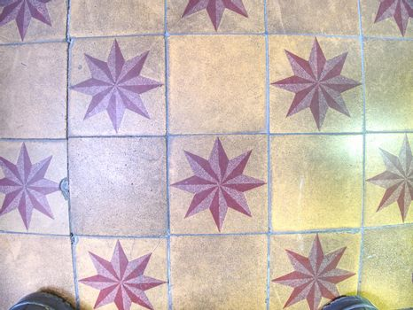 Marble floor with star shape in affluent home. Stylish modern