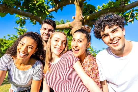 Group of five very happy friends having fun at the park posing looking at camera for a portrait. Gen z multiracial carefree young women and men together in a city park living nature in the summer sun