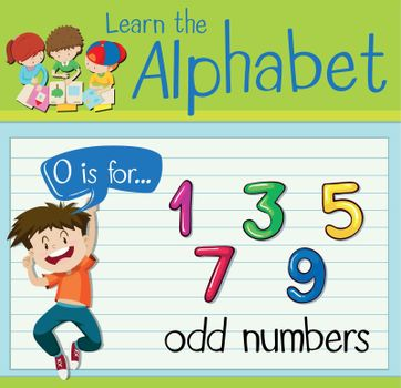 Flashcard letter O is for odd numbers