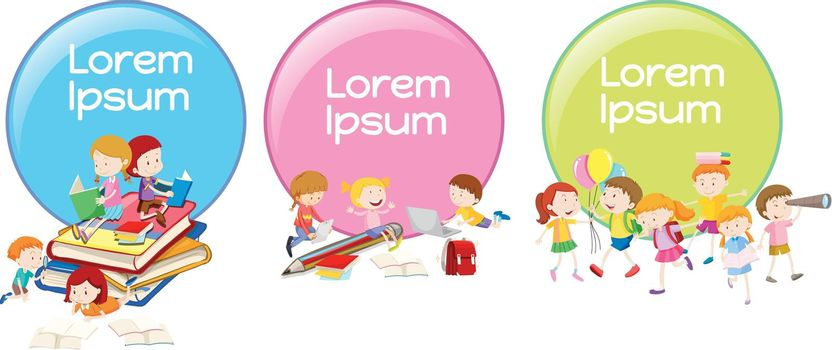 Lable designs with children reading and playing