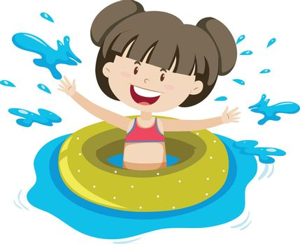 A Girl and Swimming Ring