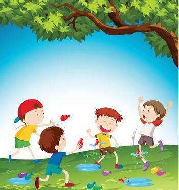 Kids playing with water balloon