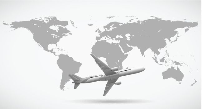 Grayscale of world map and airplane