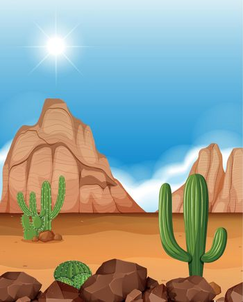 Desert scene with mountains and cactus