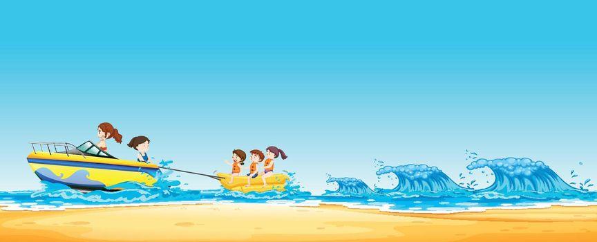 Kids  Riding Banana Boat in Ocean