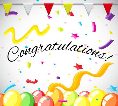 Congratulation card template with colorful balloons