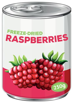 can of freeze dried raspberries