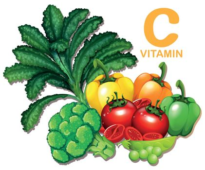 Set of foods containing vitamin C