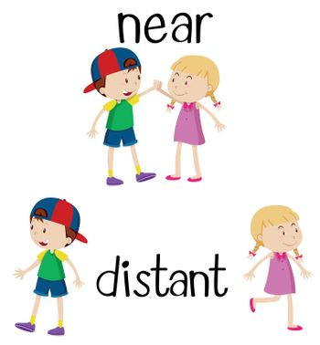 Opposite words for near and distant