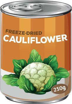 A tin of freeze dried cauliflower