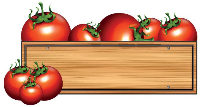 Wooden board with fresh tomatoes illustration