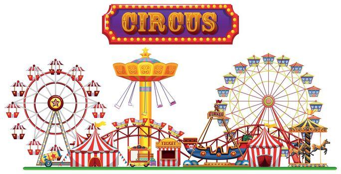 A Circus Fun Fair on White Background illustration