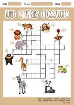 Wild animals crossword concept illustration
