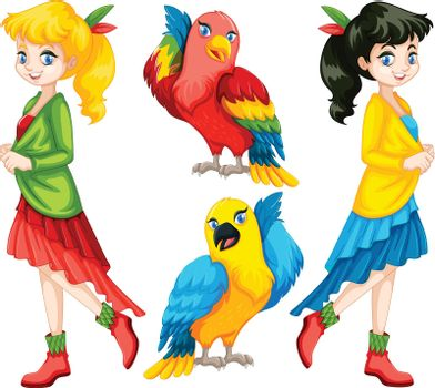 Colorful people and birds illustration