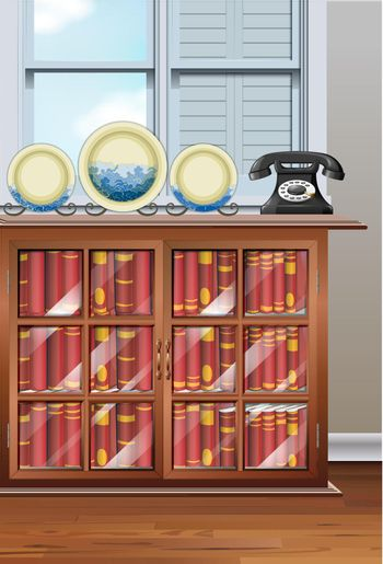 Room with bookshelves and vintage telephone illustration