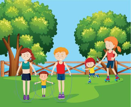 Family holiday at the park illustration
