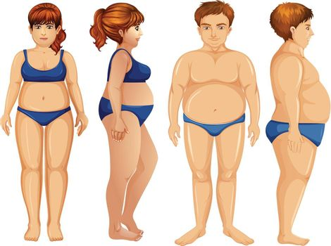 Overweight male and female figures illustration