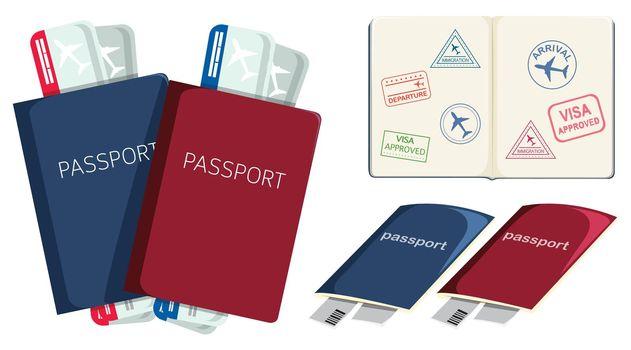 Set of passports and boarding pass illustration